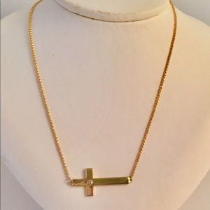 Jewelry - Cross Necklace with Diamond Gold over Sterling NEW
